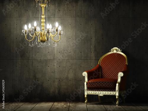 Fotografía  interior grunge room with classic armchair