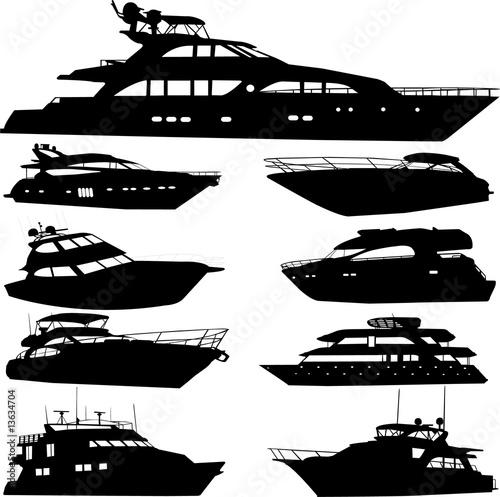 motor yacht - vector Fototapet