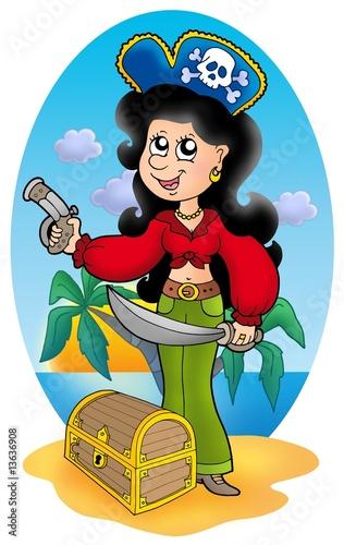 Photo sur Toile Pirates Cute pirate girl with treasure chest