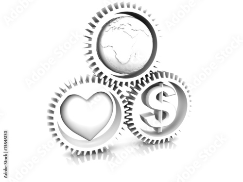 Staande foto Wereldkaart Heart, earth, money in gear