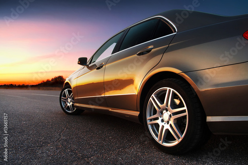 Rear-side view of car Canvas Print