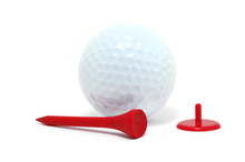 Golf Ball, Red Tee, And Marker