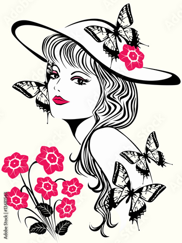 Poster Bloemen vrouw Beautiful woman with pink flowers
