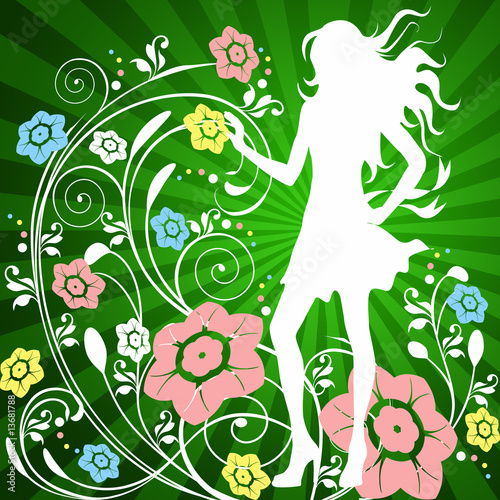 Door stickers Floral woman Beautiful model with pink and blue flowers