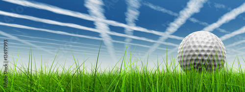 Poster Golf 3d golf ball in green grass on a blue sky with white clouds
