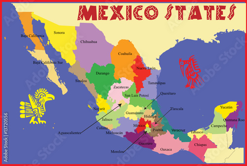 Mexico map with states name. - Buy this stock vector and explore ...