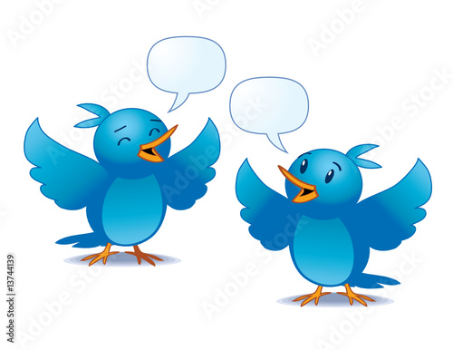 Wall Murals Birds, bees vector illustration of two blue birds talking