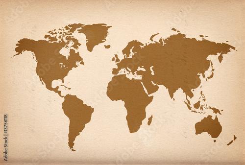 Foto op Aluminium Weltkarte auf altem Papier