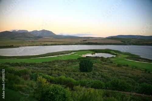Poster Afrique du Sud Golfplatz im Abendlicht