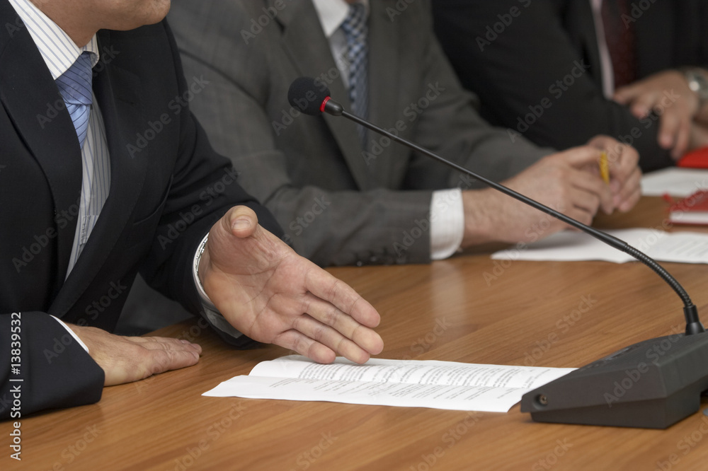 Fototapety, obrazy: business conference microphones