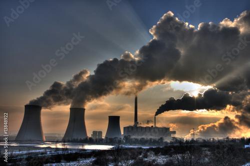 Staande foto Industrial geb. Coal powerplant view - chimneys and fumes