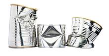 Three Damaged Tin Cans