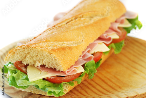 Spoed Foto op Canvas Snack baguette sandwich with ham and cheese