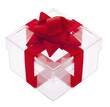 Geschenk, transparente Box
