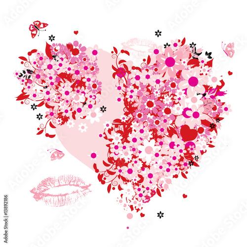 Foto op Canvas Bloemen vrouw Floral heart shape