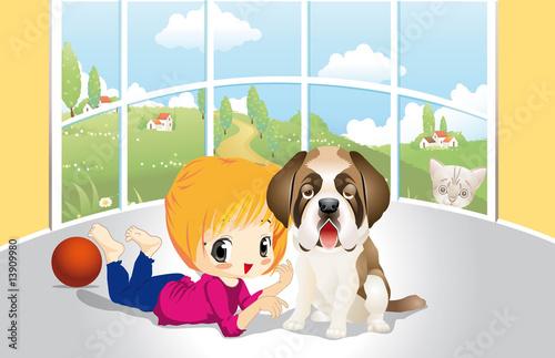 Poster Dogs Bimba con cane