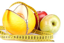 Unzipped Melon, Apples And Measuring Tape.