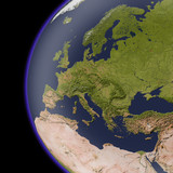 Europe from space, shaded relief map.