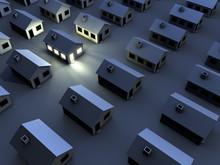 Wohnsiedlung Bei Nacht, Nur Ein Gebäude Hat Licht