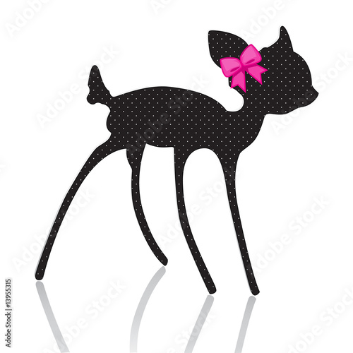 bambi silhouette with pink bow ribbon плакат