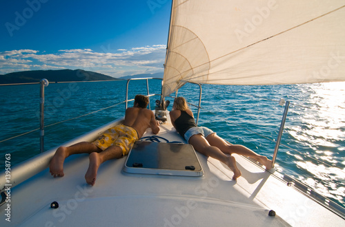 Tuinposter Zeilen Young couple on the deck