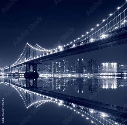 Foto-Kassettenrollo premium - Manhattan  Bridge and Manhattan skyline At Night