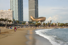 Frank Gehry's Peix D'Or On The Beach Of Barcelona, Spain