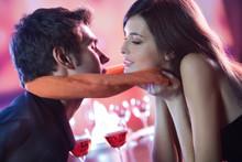 Couple Kissing In Restaurant, ...