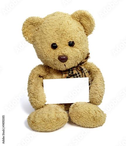 teddy bear with blank note card #14010385