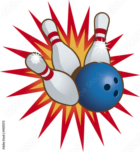 Canvas Prints Fairytale World Bowling ball and falling bowling pins