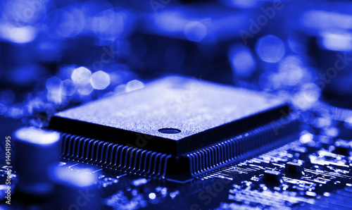 Fotografie, Obraz  chip on circuit board with selective focus