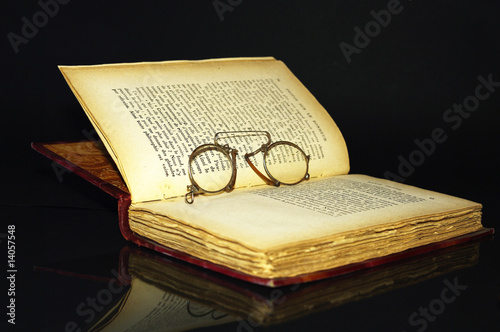 old book and glasses Wallpaper Mural
