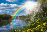 Fototapeta Tęcza - Landscape with a Rainbow on the River in Spring