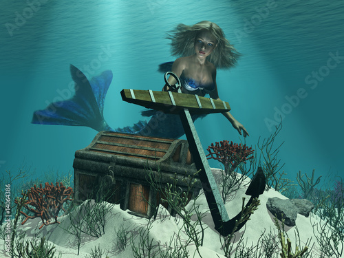 Wall Murals Mermaid A Mermaid's Discovery - 3D render