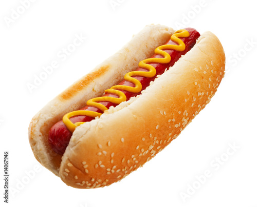 Hot Dog With Mustard Fototapet