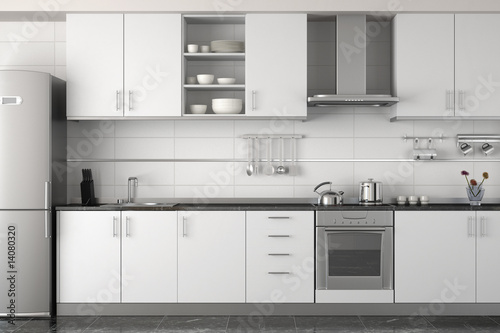 interior design of modern white kitchen Canvas Print