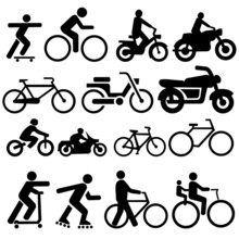Bicycle Motorcycle Silhouettes