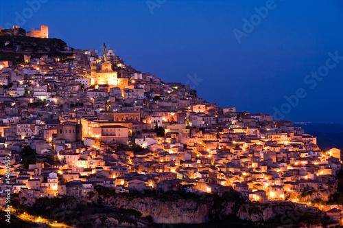 Fényképezés  view by night old italian village at twilight