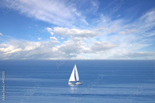 Montage in der Fensternische Rosa Lonely white sail at infinite ocean