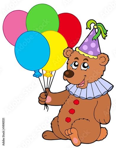 Wall Murals Bears Clown bear with balloons