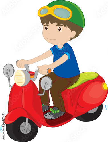 Poster Motorcycle boy riding a scooter