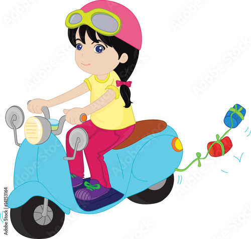 Poster Motorcycle girl riding a scooter