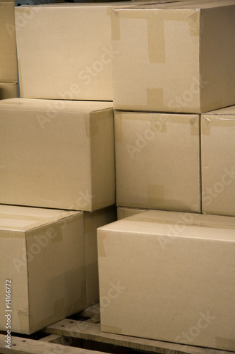 Photo Stack of Boxes in a Warehouse