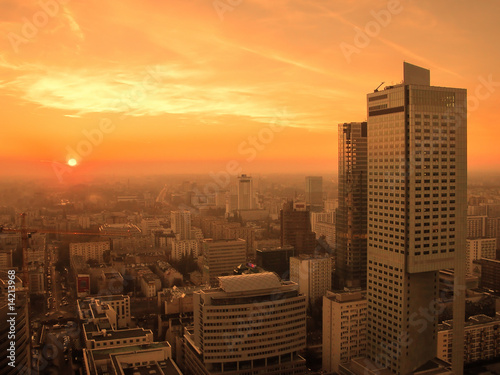 Sunset over Warsaw downtown - 14213968