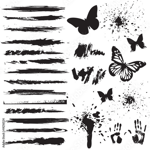 Printed kitchen splashbacks Butterflies in Grunge set of grunge elements
