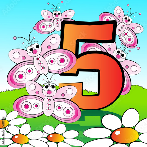 Numbers serie for kids - #05 Butterflies #14219136