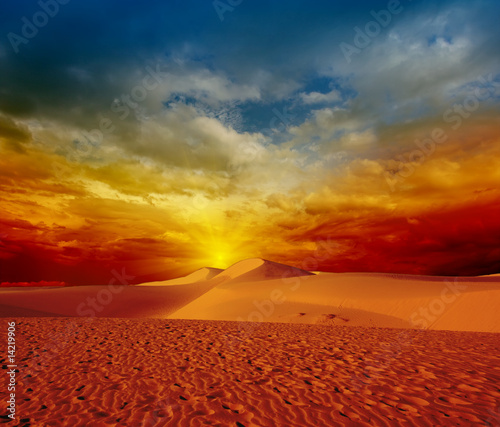 Printed kitchen splashbacks Brick Desert sunset