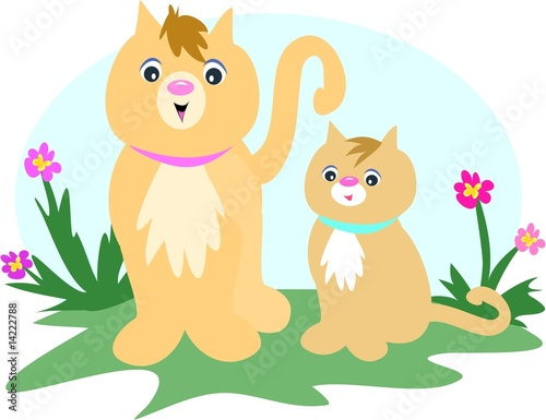 Foto op Canvas Katten Cat and Kitten in Flower Garden