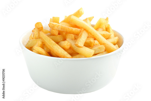 Bowl full of french fries isolated on white Poster