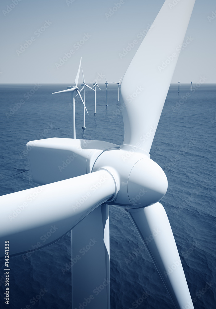 Fototapeta Windturbines on the ocean